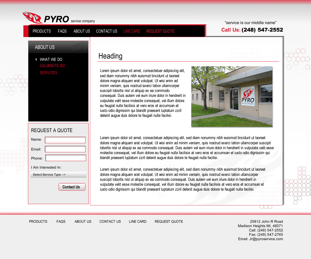 Pyro Service Subpage